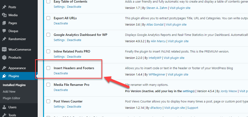 Cài plugin Insert Headers and Footers