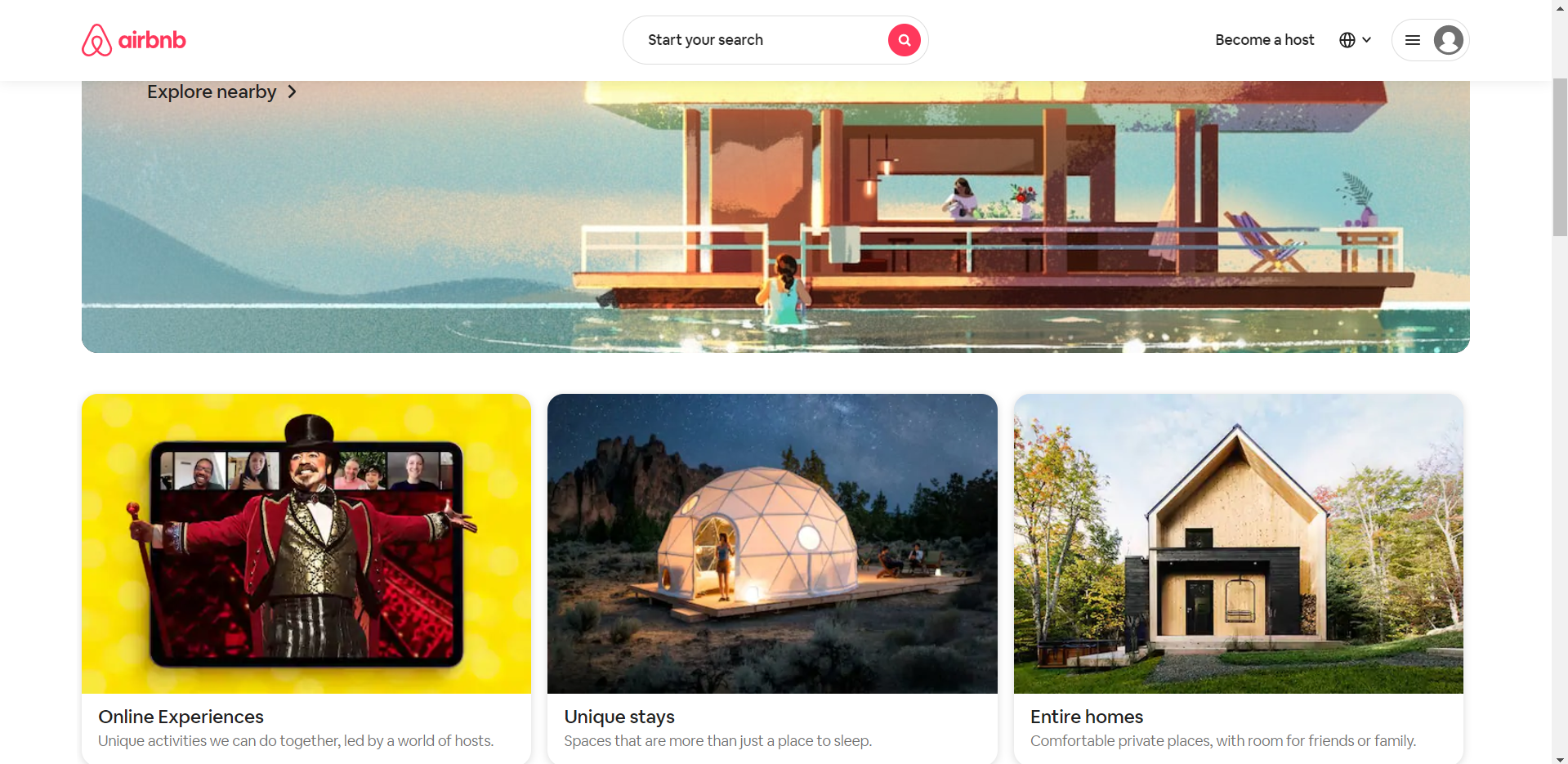 Landing page của AirBnB